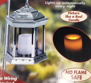 Paradise - Solar Power Flickering Candle Lantern Pewter