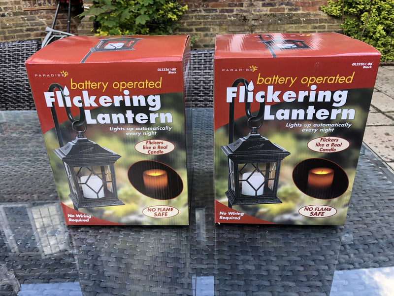 2 x Metal Garden Outdoor Lanterns with Flickering LED Battery Candle