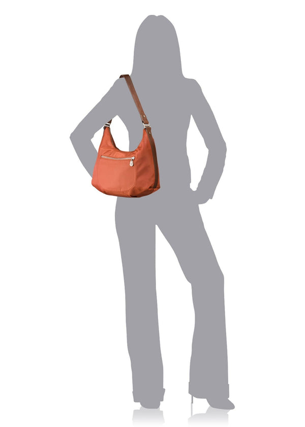 Baggallini Luggage Leather Trim Jessica Hobo Bag, Amber, One Size