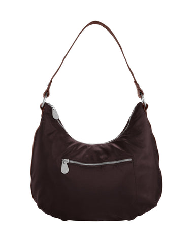 Baggallini Luggage Leather Trim Jessica Hobo Bag, Auburn, One Size