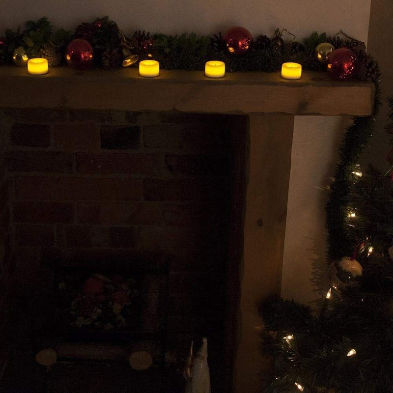 tealights and fireplace