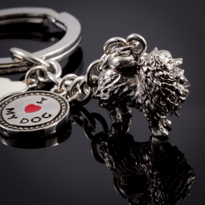 Pomeranian High Detailed Dog Metal Animal Keyring