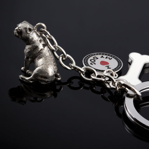 Pug High Detailed Dog Metal Animal Keyring