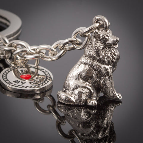 Shetland Sheepdog High Detailed Dog Metal Animal Keyring