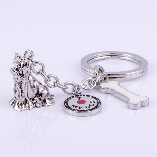 Yorkshire Terrier High Detailed Dog Metal Animal Keyring