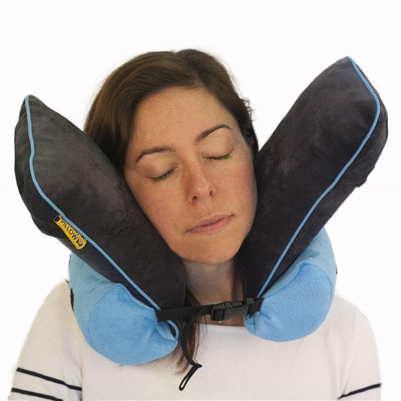 light blue travel pillow