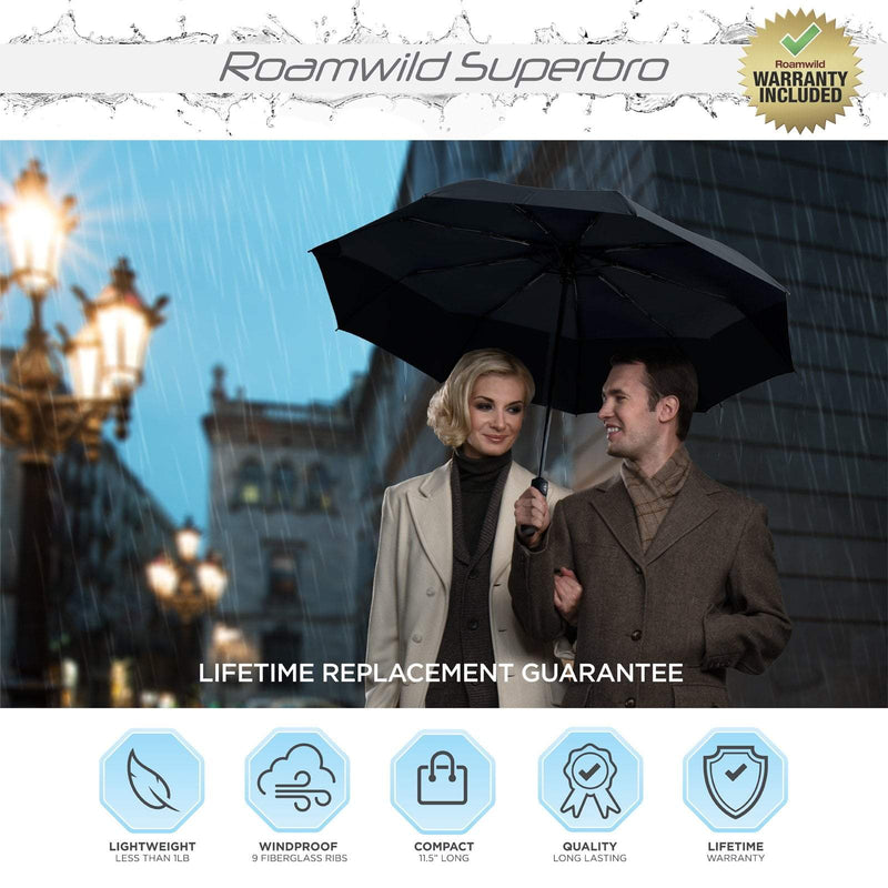 Roamwild SuperBRO Super Strong Black Fast Drying Automatic Compact Umbrella