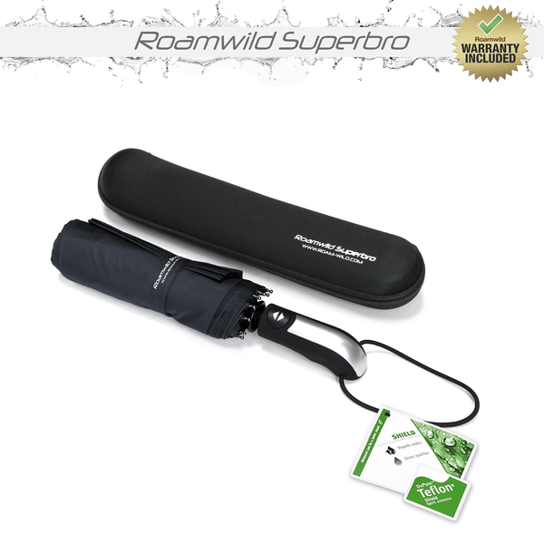 Roamwild Vented SuperBRO Super Strong Black Fast Drying Automatic Compact Umbrella