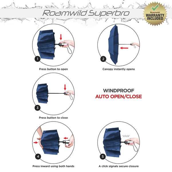 Roamwild Vented SuperBRO Super Strong Navy Fast Drying Automatic Compact Umbrella