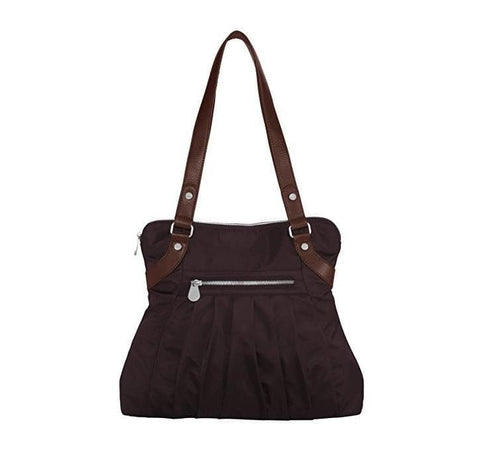 Baggallini Luggage Leather Trim Audrey Satchel, Brown, One Size