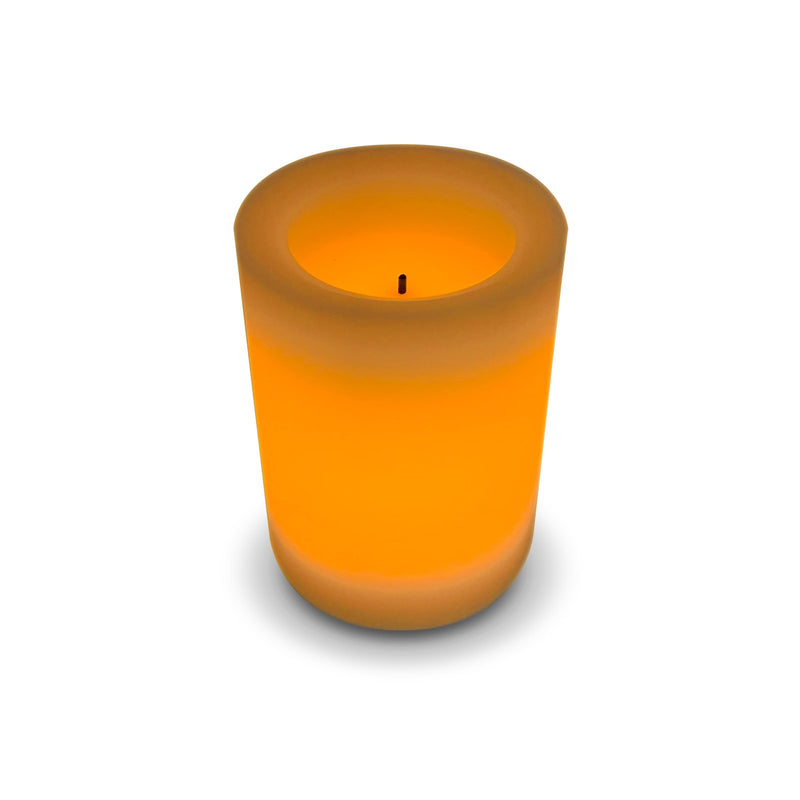 4 inch - Real Wax Pillar Battery Operated LED Candles - Cream Colour & Scented