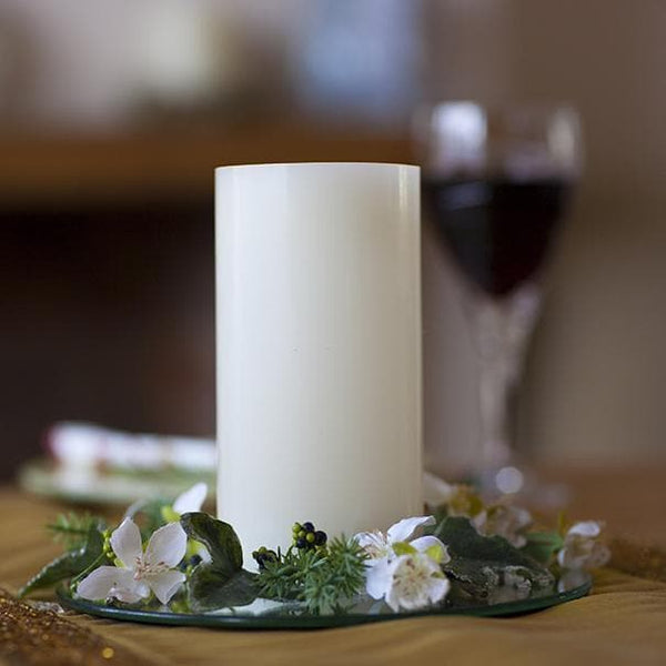 Real Wax Pillar Battery Operated 4 inch LED Candles - Cream Colour & Scented