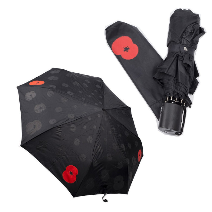 Remembrance Day Poppy Umbrella - Automatic Opening Compact Umbrella