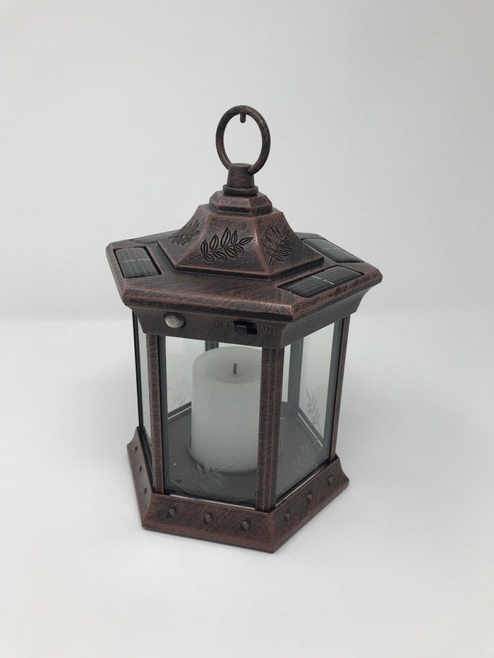 Paradise - Solar Power Flickering Candle Lantern Antique copper