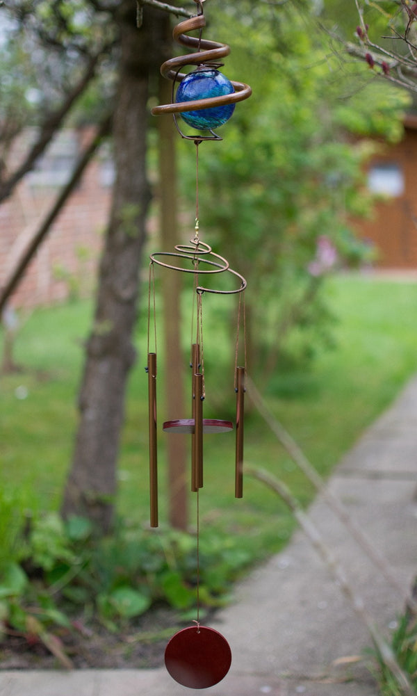 wind chime hanging in garden