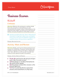 Business Acumen Training Course Facilitator Cheat Sheet