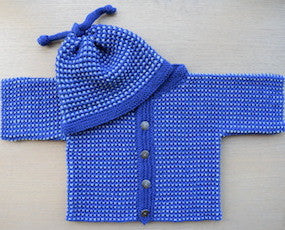 Hand knit baby jacket and hat kit. Jane's Knitting Kit