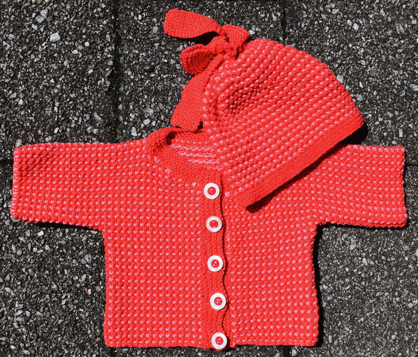 Baby Pebble Jacket and Hat - Rose- Hand Knitting Kit