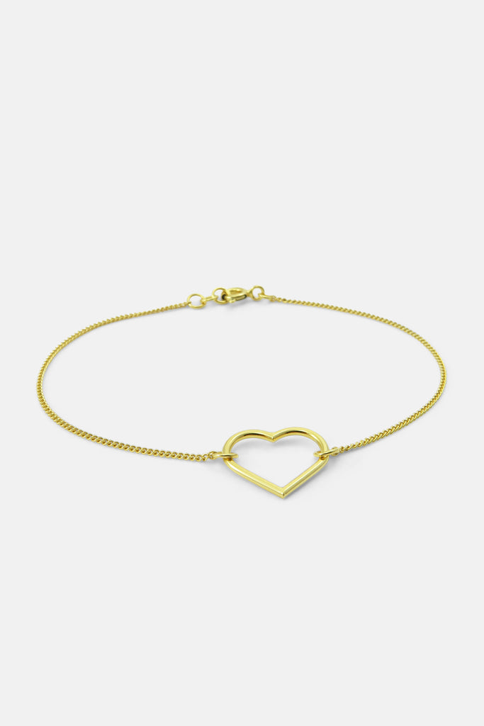Bracelet with heart, vermeil