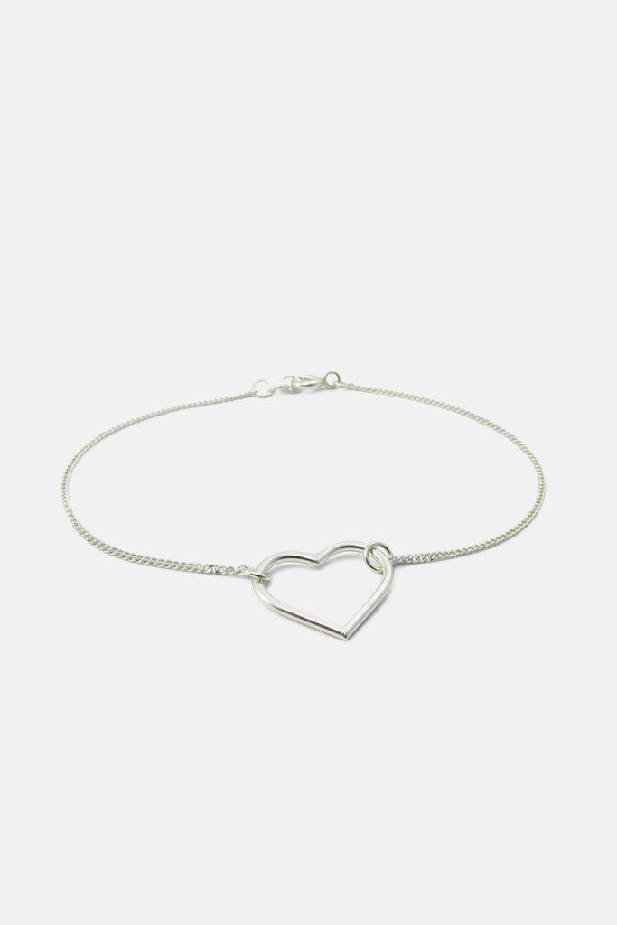 Bracelet with heart, silver