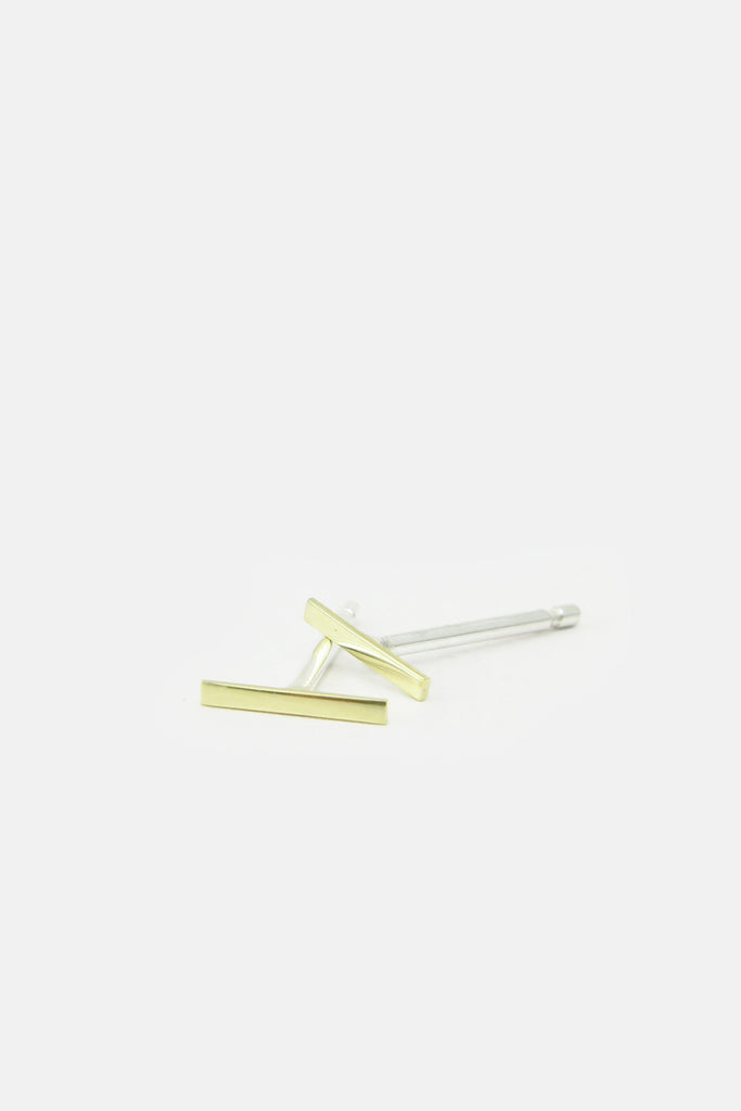 small stripe earrings, 14k gold and sterling silver
