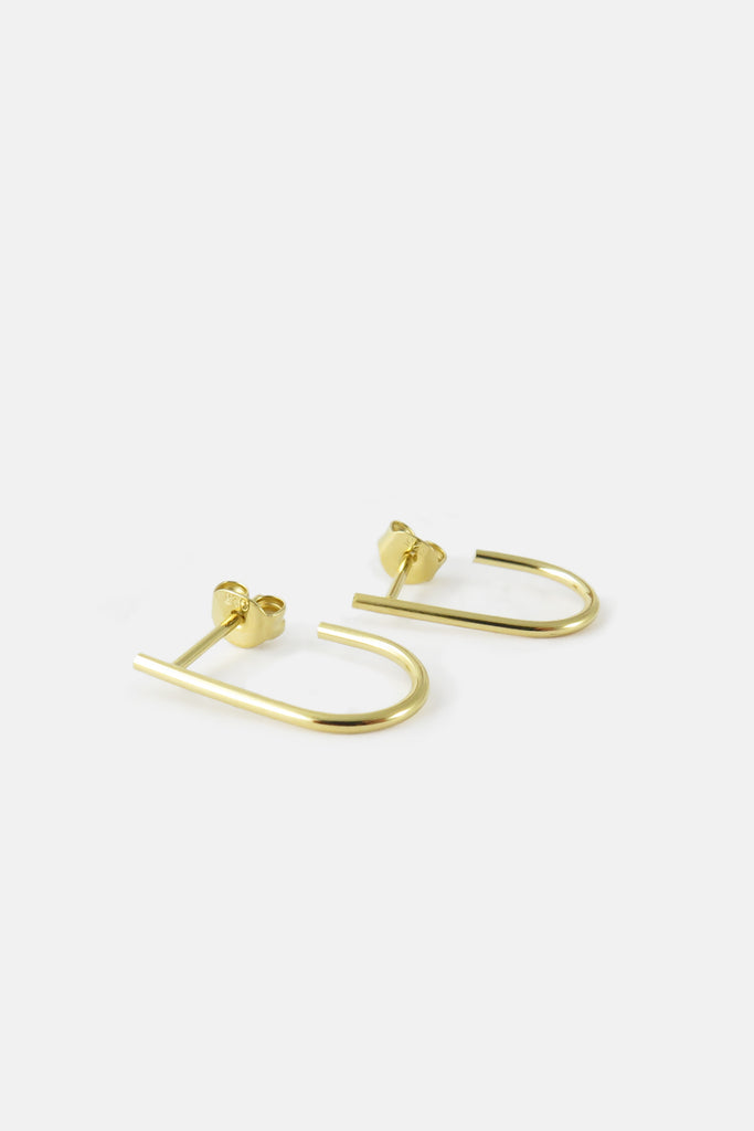 Large U-shape earrings, vermeil