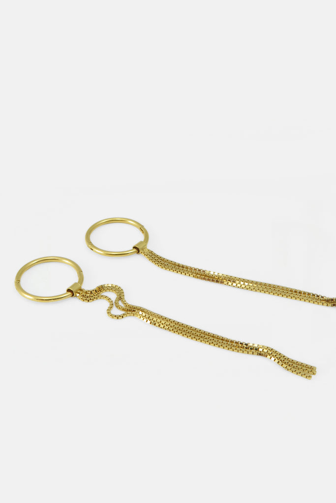Hoop earrings with fringes, vermeil