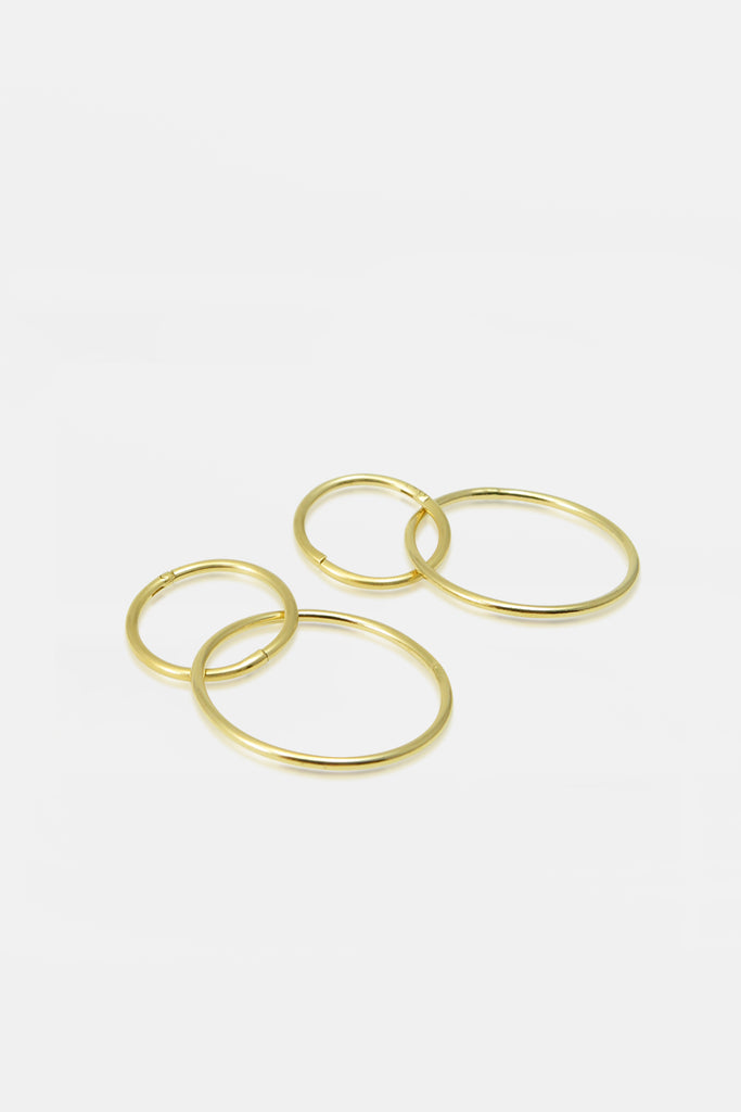 Double hoop earrings, vermeil