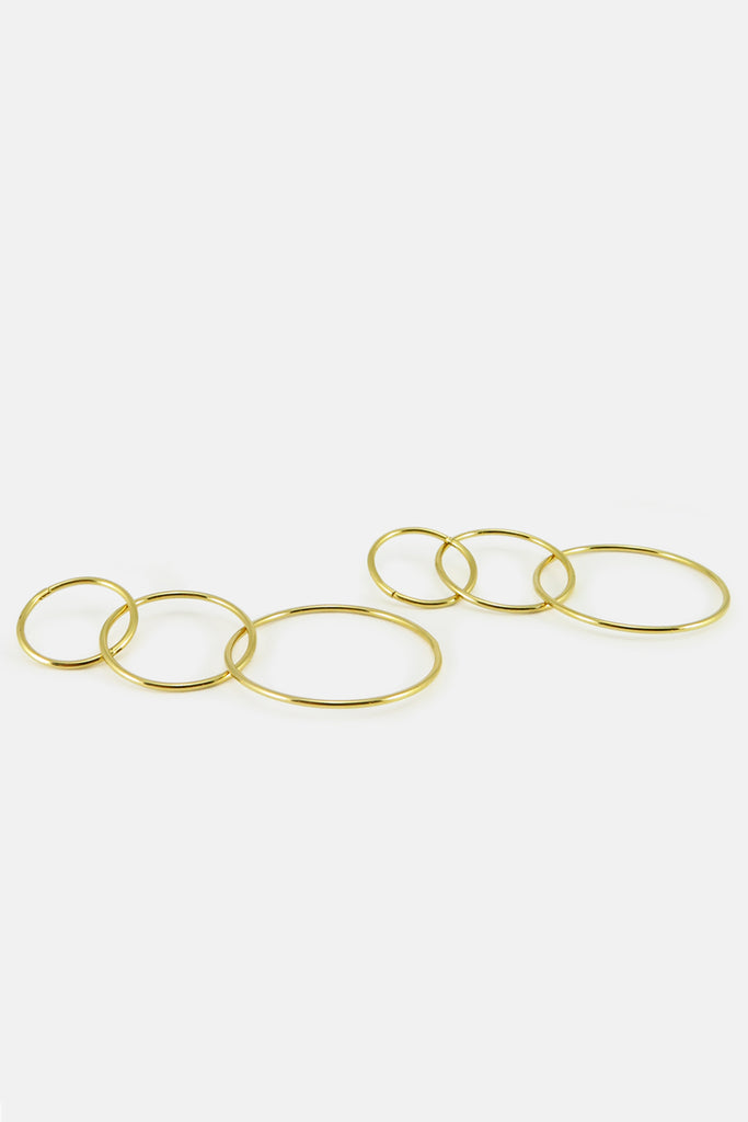 Triple hoop earrings, vermeil