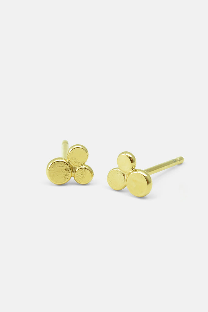 triple dots earrings, vermeil