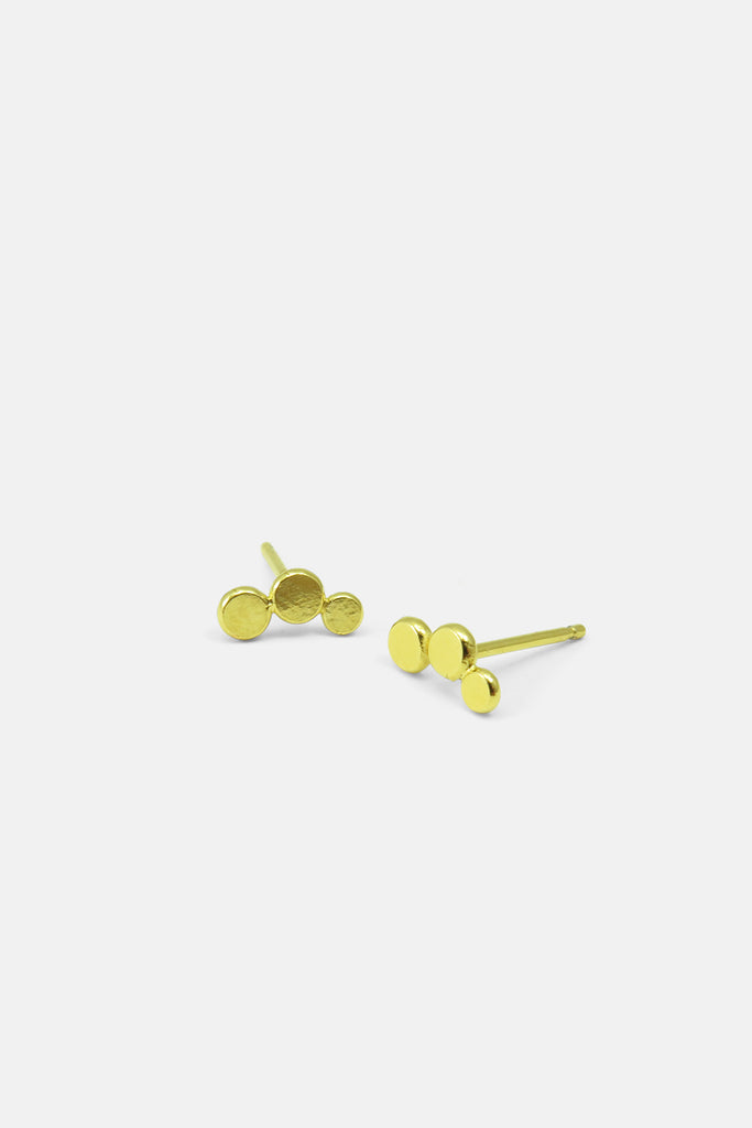 Triple dots in a line earrings, vermeil