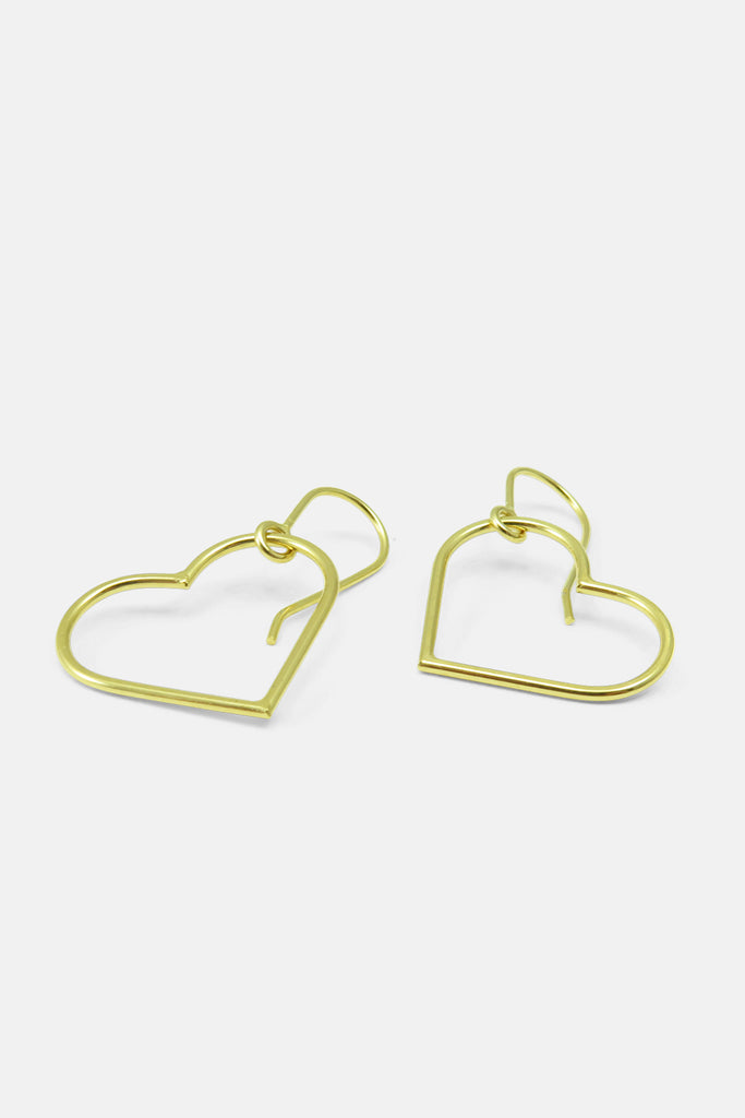 Wire heart earrings, vermeil