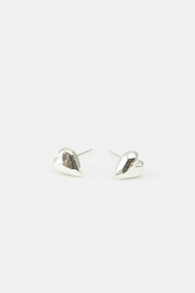 Heart shaped earrings, silver
