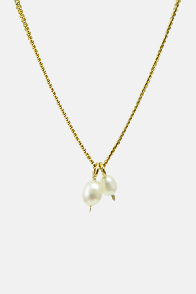 Two pearls necklace, vermeil
