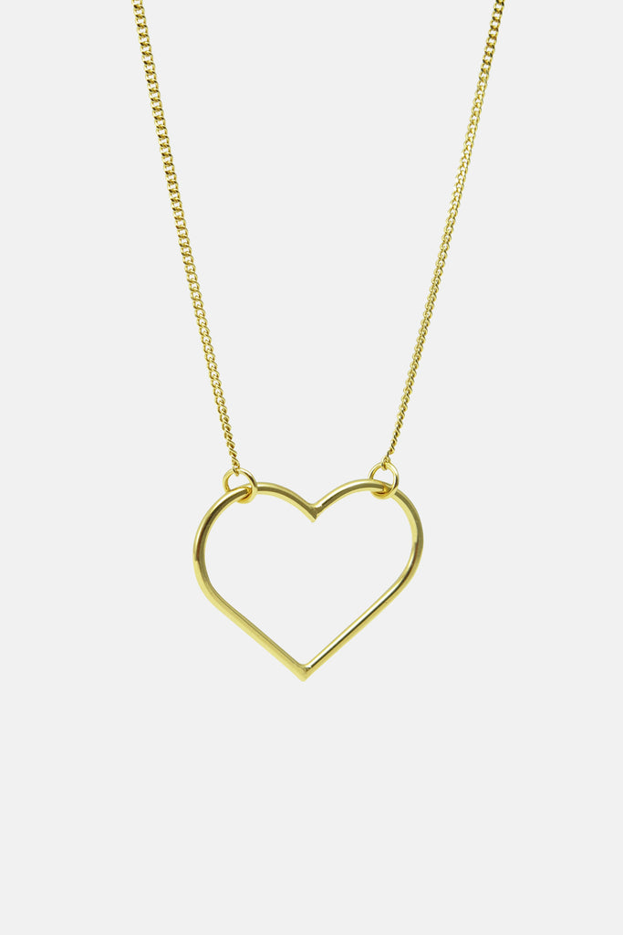 wire heart necklace, vermeil