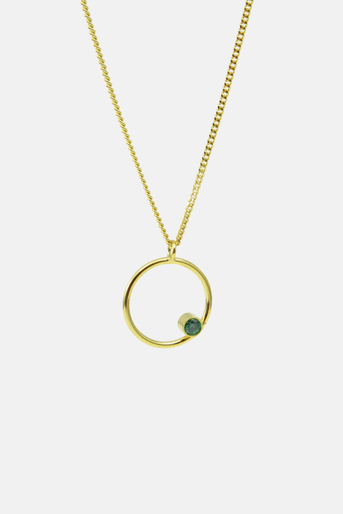 Circle with green necklace, vermeil