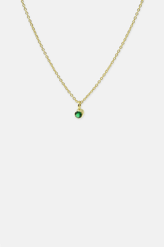 Anchorchain with green stone, vermeil