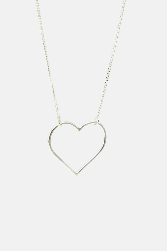 wire heart necklace, silver