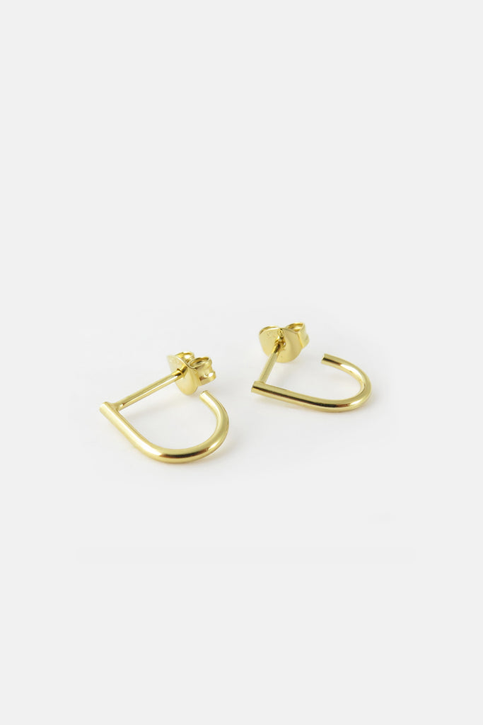 small u-shape earrings, vermeil