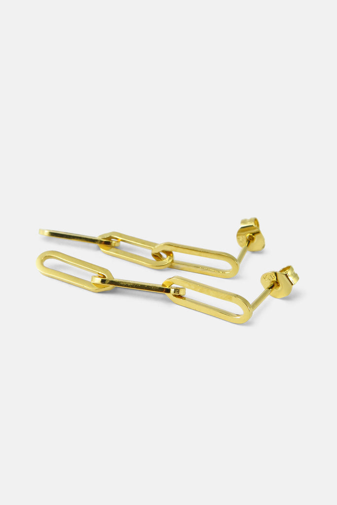 Large cable chain earrings, vermeil