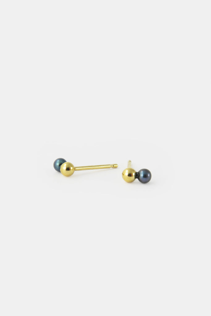 Black pearl and ball earrings, vermeil