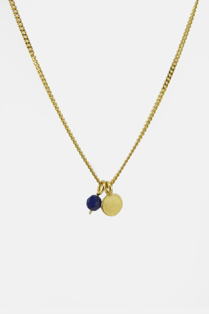 DISC with blue bead, vermeil
