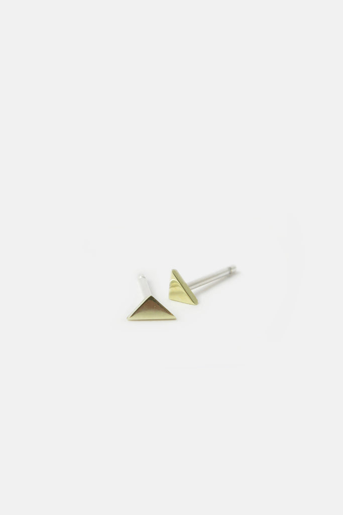 Triangle earrings, 14k Gold and sterling silver