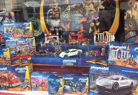 Playmobil Movie window display at Giddy Goat Toys