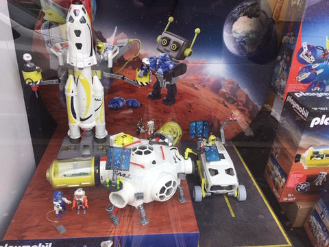Playmobil Space toys in Giddy Goat Toys window display