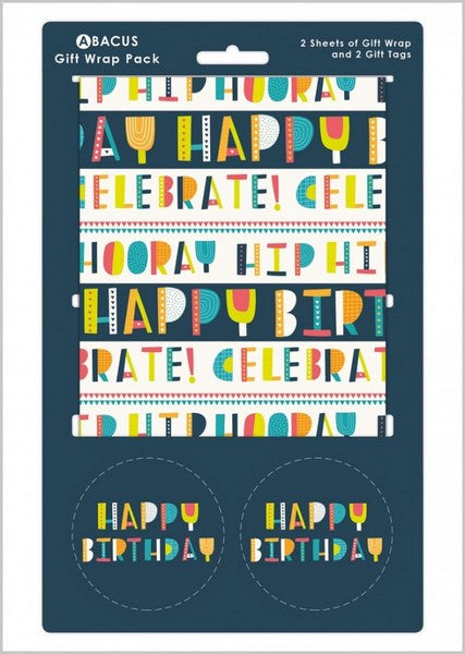 Happy Birthday Text Gift Wrap Pack