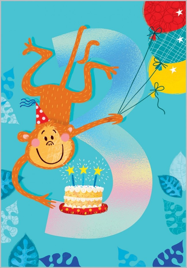 Birthday Card - Age 3: Cheeky Monkey