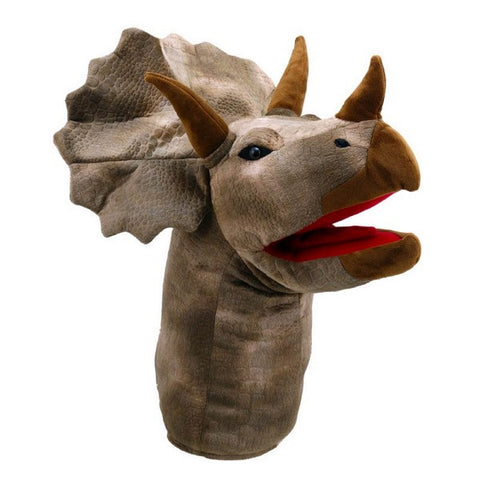 Large Dinosaur Head Hand Puppet - Triceratops