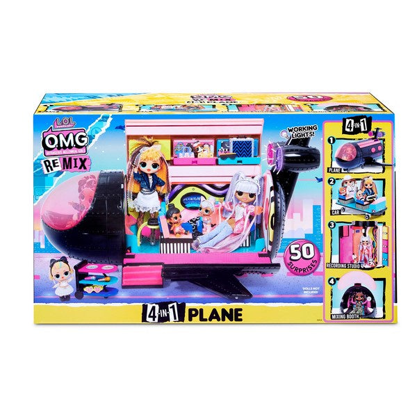 L.O.L. Surprise! O.M.G. Remix 4-in-1 Plane Playset Transforms - 50 Surprises