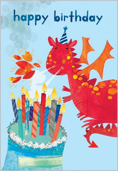Birthday Card - Red Birthday Dragon